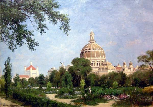 Giuseppe Barison (italien 1853-1931) Scène de Jardin devant le Dôme -photo-2