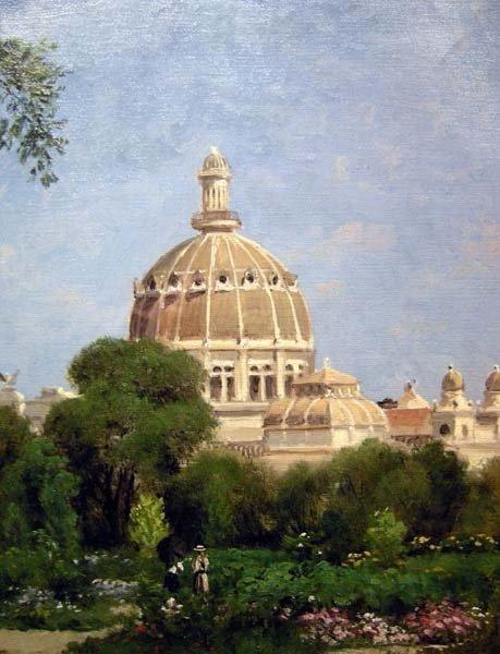 Giuseppe Barison (italien 1853-1931) Scène de Jardin devant le Dôme -photo-3