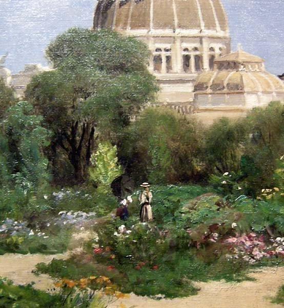 Giuseppe Barison (italien 1853-1931) Scène de Jardin devant le Dôme -photo-4