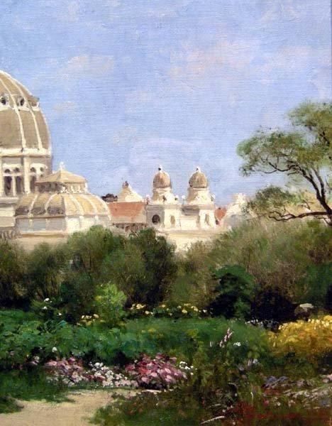 Giuseppe Barison (italien 1853-1931) Scène de Jardin devant le Dôme -photo-1