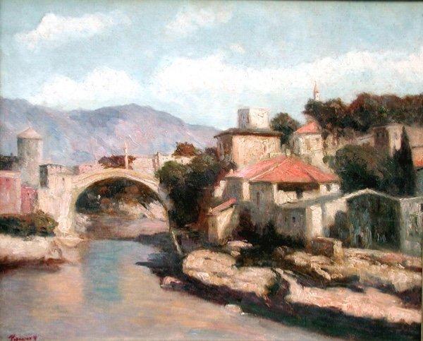 Vue de Mostar en Bosnie par Josef Konecny (1908-1989)-photo-2
