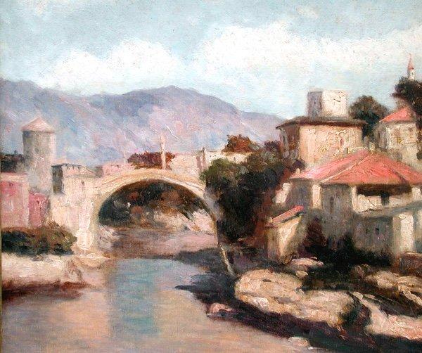 Vue de Mostar en Bosnie par Josef Konecny (1908-1989)-photo-3