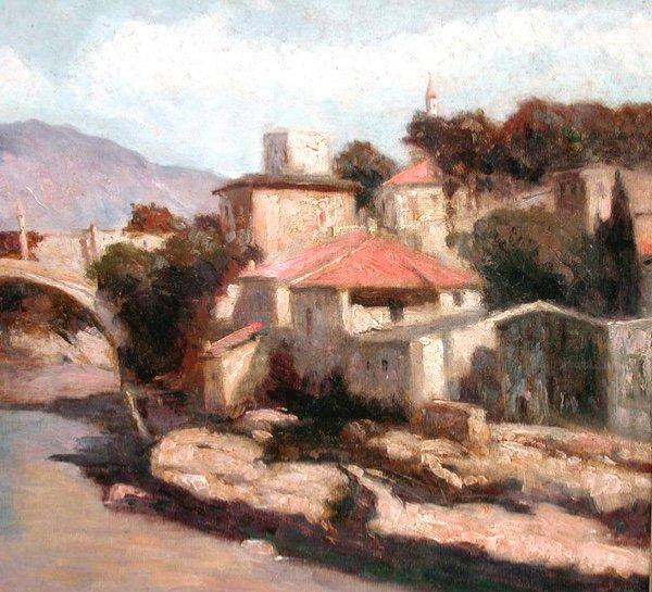 Vue de Mostar en Bosnie par Josef Konecny (1908-1989)-photo-4