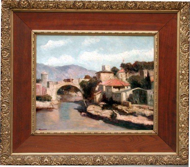 Vue de Mostar en Bosnie par Josef Konecny (1908-1989)