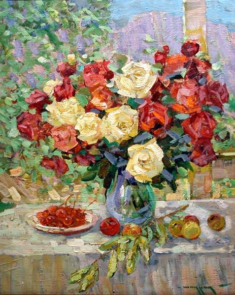 Alexander Shadrin  ( Russe, Né En 1942)    Still Life With Roses And Fruits-photo-2