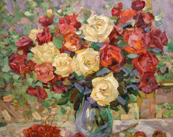 Alexander Shadrin  ( Russe, Né En 1942)    Still Life With Roses And Fruits-photo-3