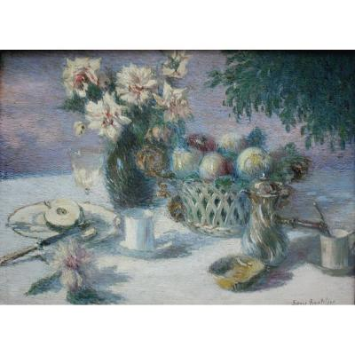 Sonia Routchine-vitry (russian, 1878 Odessa - 1931 Paris) Title:	   	Pointillistic Still Life O