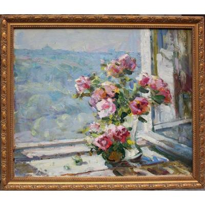 Still Life With Roses On The Window-sill