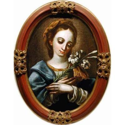 Carlo Dolci (1616 -1686) Circle Title: Madonna With A Lily