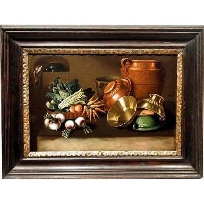 Kitchen Still Life By Er Lautter (active In Austria In The 18th Century)