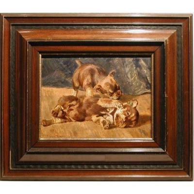 Playing Airedale Terrier Puppies By Richard Strebel (ńe In 1861)