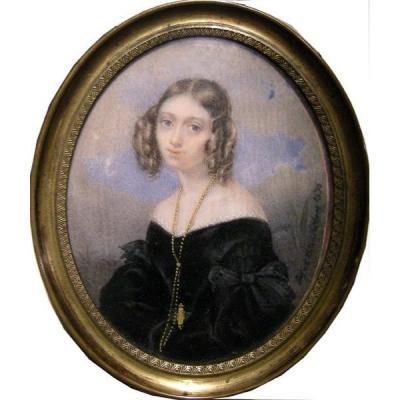 Giosue Bianchi (italien 1803 - 1875) Portrait d'Une Jeune Femme, Miniature Sur Ivoire