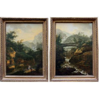 Une paire de paysages Italiens par Christian Wilhelm Ernst Dietrich Dietricy (1712-1774)