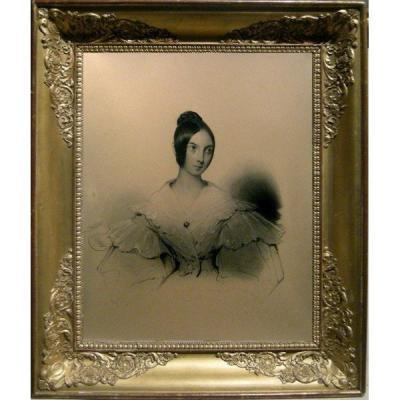 Portrait De Jeune Femme par Alphonse Giroux (français, 1775-1848), Crayon Sur Papier