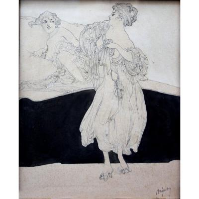 Franz Von Bayros (autriche1866-1924) Deux Copines, Dessin Original