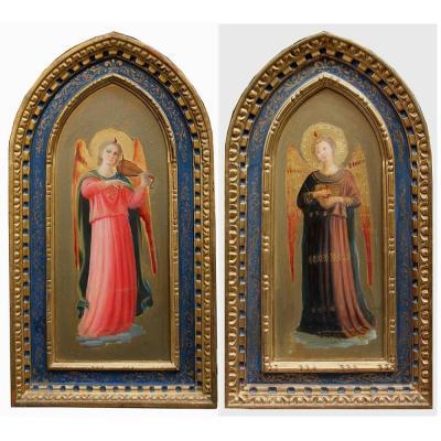 Disciple  du peintre Fra Angelico (1395-1455), Une Paire De Peintures  Avec Des Musicians  d'Anges