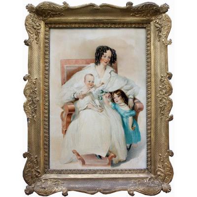 """""""Mère de deux enfants"""" par Alexander Clarot (1796-1842) , aquarelle"""