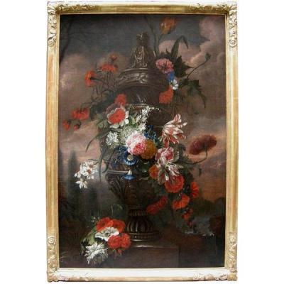 Flowers in a stone urn par Jean-Baptist  Monnoyer (1634 - 1699) - Atelier
