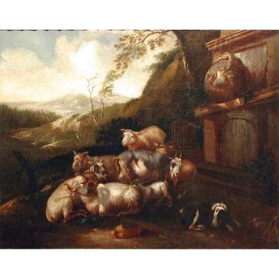 Moutons avec chien par le puits antique dans Roman Campagna par Philipp Peter Roos / Rosa da Tivoli ( 1657 - 1706) - attribué
