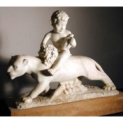 Young Bacchus On A Panther By Jan Drabek (czech, Born 1900), Marble Sculpture
