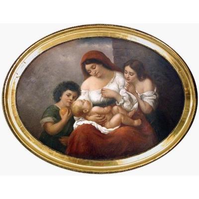 Mère Aux Enfants, Ecole Italienne Vers 1900