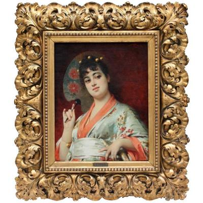 Young Woman In Kimono By Nathanael Sichel (german, 1843 - 1907)