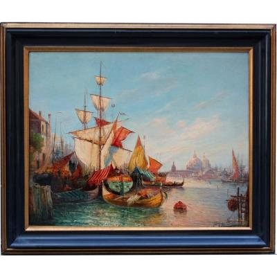 Busy Scene In The Lagoon Of Venice I By E.peregrini (italian 19/20 Centuries)