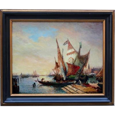 Busy Scene In The  Venetian Lagoon II  By  E. Peregrini (italian, 19th / 20th Centuries)