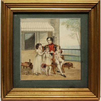 L'Empereur Napoléon Ier sur la terrasse  du Château Saint-Cloud entouré de sea neveux ét nièces