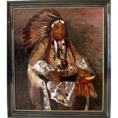 Chef Des Indiens Damérique par Stefanie Ventura (autrichien, née 1891)