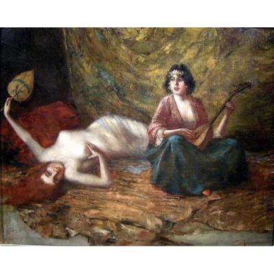 Harem Scene By Eduard Ansen-hofmann (austrian 1862-1955)