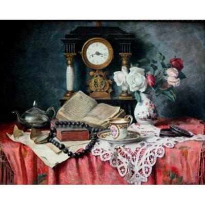 Still Life With Pendulum, Flowers And Antiques By Franz Krischke ( Austrian 1885-1960)