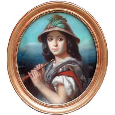 Jeune Fille Romaine Avec Une Flûte par Charles Joseph Lecointe (1824 - 1886)