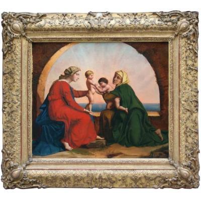 Holy Family With John The Baptist And Saint Elisabeth By Josephine Calamatta (1817-1893)