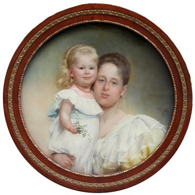 Portrait Of Mother  And Daughter  By Carl Fröschl (austrian 1848 - 1934)