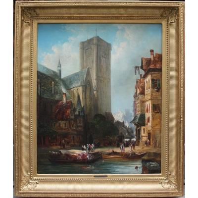 Street Scene In The Front Of A Cathedral (old Rouen?)  By Alexandre Defaux (french, 1826-1900)
