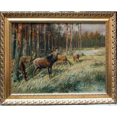 Forest Clearing With Roaring Deer And His Hinds By Emil Rieck ( German 1852-1939)