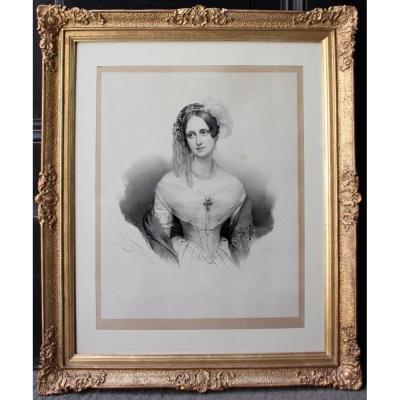 Henri Grévédon (1776 - Paris - 1860) Portrait Of A Noble Lady
