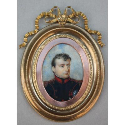 Jean-baptiste Isabey (1767-1855) -school. Miniature Portrait Of Napoleon