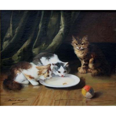 """""""unexpected Guest"""" By Alfred Arthur Brunel De Neuville (french 1852-1941)"""