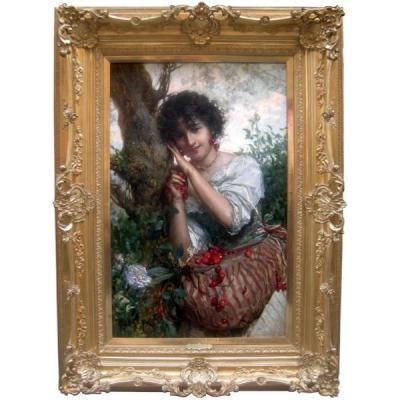 """cherry Time"" By Salvatore Postiglione (1861 - Naples - 1906)"