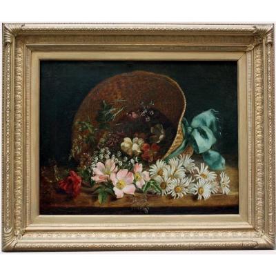 «fleurs éparses Dans Un Chapeau De Paille» par  un peintre de fleurs  , XIXe Siècle