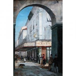 """""""street Scene In Front Of The Restaurant La Maison Dorée In Nice"""" By Edward Louis Anthony Parrini"""
