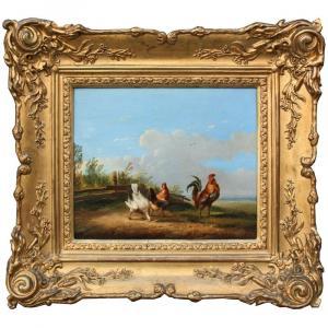 Frans Van Severdonck ( Belge, 1809-1889) Coq et poules