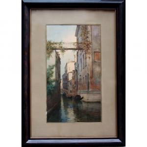 Paire de grandes aquarelles à motifs Vénitiens par Giuseppe Saletta, Italien, fin du19e Siecle