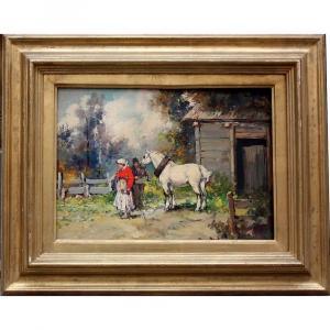 Aleksey Issupoff (russe 1889 Vyatka - 1957 Rome), Cheval Blanc État Paysants