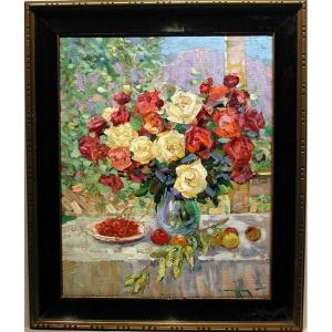 Alexander Shadrin  ( Russe, Né En 1942)    Still Life With Roses And Fruits