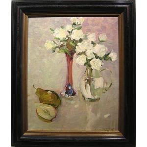 Alexandre Shadrine (russe, né en 1942) Nature morte aux roses blanches et poire