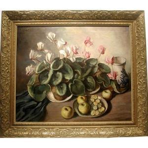 Nature morte aux fleurs et aux fruits d'Otto Schweigel (Tchèque, 1878 - 1954)