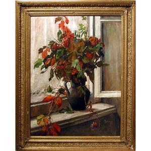 Vase de fleurs sur le rebord de la fenêtre par Giulietta Corazzi ( italienne, née en 1866)